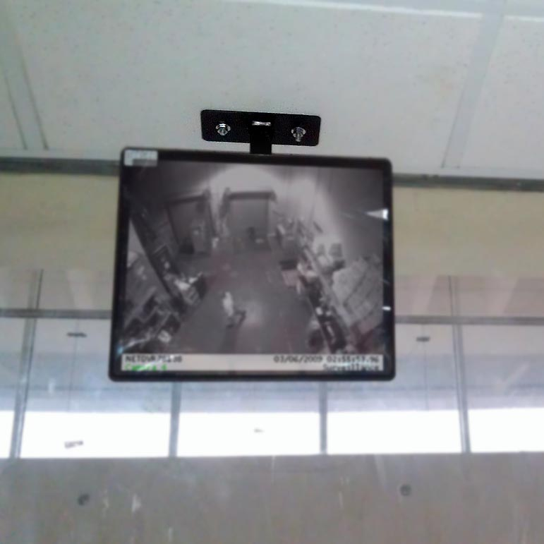 Ceiling stand for surveillance and information
